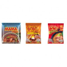 3 FOR £25 MIXED MAMA - MOO NAM TOK + SHRIMP CREAMY TOM YUM + TOM SAAB