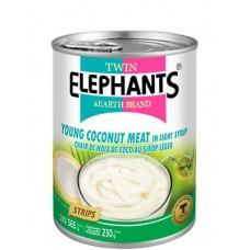 Young Coconut Meat (Strips) In Syrup565G - TWIN ELEPHANTS