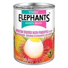 Rambutan Stuffed With Pineapple In Syrup 565g - TWIN ELEPHANTS